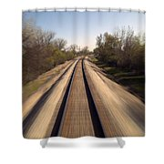 Trains Power Approaching The Crossing Shower Curtain