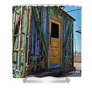 Trains Wooden Box Car Yellow Door Shower Curtain