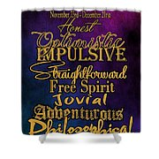 Traits Of A Sagittarius Shower Curtain