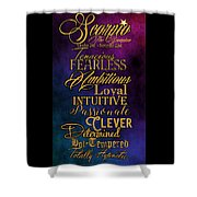 Traits Of A Scorpio Shower Curtain by Mamie Thornbrue