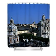 Trajan's Column Church Of Santa Maria Di Loreto Church Of Our Lady Giclee Rome Italy Shower Curtain