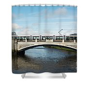 Tram On The Sean Heuston Bridge Shower Curtain
