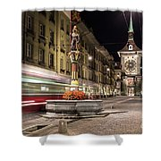 Tram Rushes In The Street Of Bern Shower Curtain