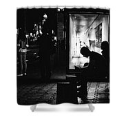 Tram Station Silhouettes Shower Curtain
