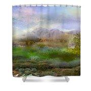 Tranquil Alpine Village Shower Curtain