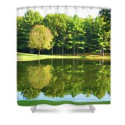 Tranquil Landscape At A Lake 2 Shower Curtain