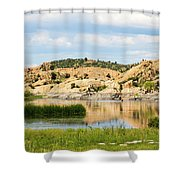 Tranquil Willow Lake Shower Curtain