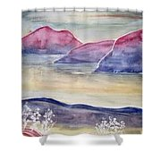 Tranquility 2 Mountain Modern Surreal Painting Print Shower Curtain