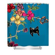 Transparent Flowers And Butterflies In Color Shower Curtain