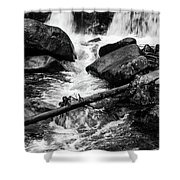 Trap Falls In Ashby Ma Black And White 9 Shower Curtain
