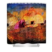 Travel Exotic Woman On Ramparts Mehrangarh Fort India Rajasthan 1h Shower Curtain