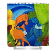 Travel In The Undefined Time. Shower Curtain