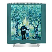 Travel Notebook.olive Groves Shower Curtain