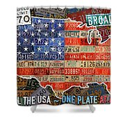 Travel The Usa One Plate At A Time License Plate Art By Design Turnpike Shower Curtain