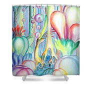 Travel To Planet Of Ball-shaped Flowers Shower Curtain