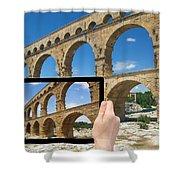 Travel To Pont Du Gard  Shower Curtain