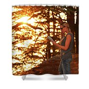 Traveler Woman In The Forest Shower Curtain