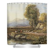 Travelers In A Welsh Landscape Shower Curtain