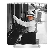 Traveling By Train - Black And White Focal Shower Curtain