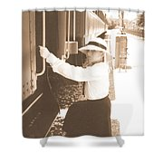 Traveling By Train - Sepia Shower Curtain