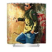 Traveling Man At Rest Shower Curtain