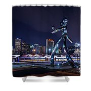 Traveling Man Stepping Out After Dark Shower Curtain