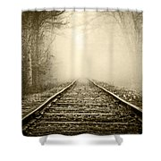 Traveling On The Tracks Antique Shower Curtain
