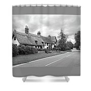 Travellers Delight - English Country Road Black And White Shower Curtain