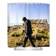Travelling Man Touring Australia Shower Curtain