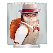 Travelling Owl Shower Curtain