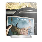 Travelling Tourist With Map Of Tasmania Shower Curtain