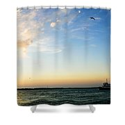 Travels At Sunset Shower Curtain