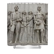 Travis And Crockett On Alamo Monument Shower Curtain