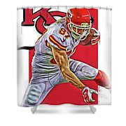 Travis Kelce Kansas City Chiefs Oil Art Shower Curtain