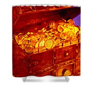 Treasure Chest With Gold Coins Shower Curtain