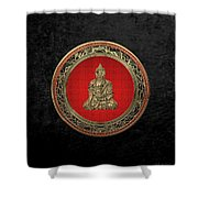 Treasure Trove - Gold Buddha On Black Velvet Shower Curtain