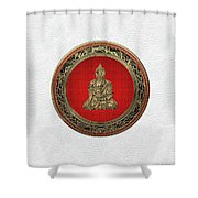 Treasure Trove - Gold Buddha On White Leather Shower Curtain