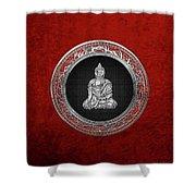 Treasure Trove - Silver Buddha On Red Velvet Shower Curtain