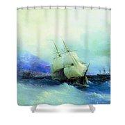 Trebizond From The Sea 1875 61h94 Ivan Konstantinovich Aivazovsky Shower Curtain