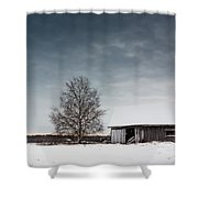 Tree And A Barn Shower Curtain