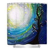Tree And Moonstars Shower Curtain