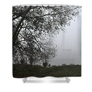 Tree And Moored Boat Shower Curtain