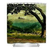Tree And Mountain Shower Curtain