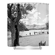 Tree And People By The Lake Shower Curtain