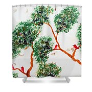 Tree And Red Birds 2 Shower Curtain