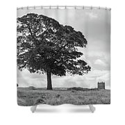 Tree And The Cage Tower In The Distance In Lyme Park Estate In B Shower Curtain