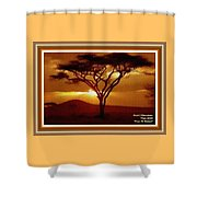 Tree At Sunset. L A With Decorative Ornate Printed Frame. Shower Curtain