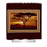 Tree At Sunset. L B With Decorative Ornate Printed Frame. Shower Curtain