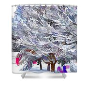 Tree Branches Covered By Snow  Shower Curtain