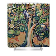 Tree Candy Shower Curtain by Genevieve Esson